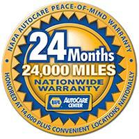 Napa 24 Month 24000 Mile Warranty